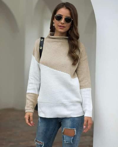 Fashion Gored Knit Long sleeve irregular Sweaters