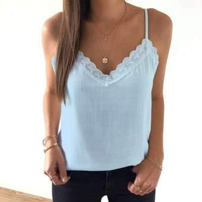 Pure Lace V neck Vest T-Shirts