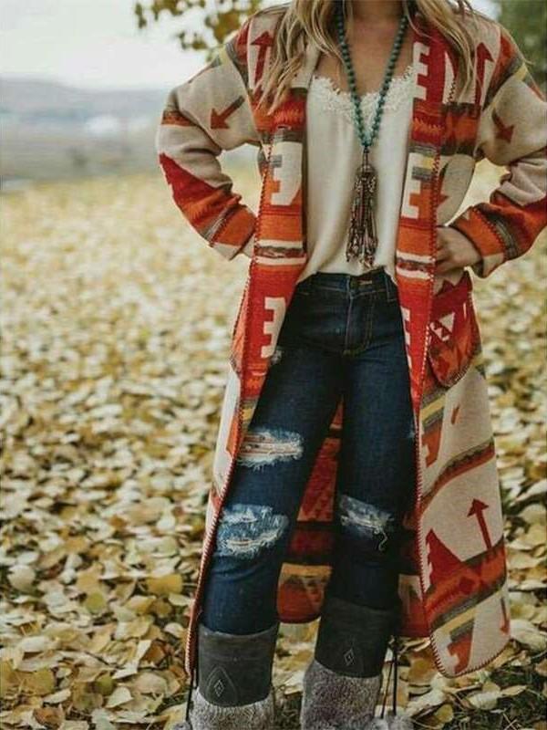 Fashion Casual Print Lapel Long sleeve Long Coats