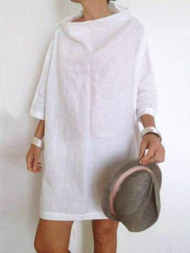 Loose Stand collar Pure Shift Dresses