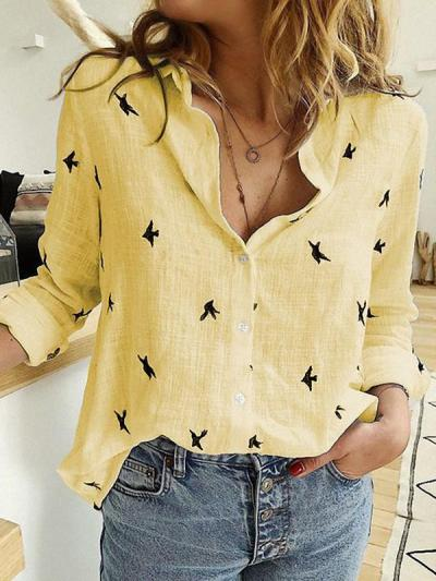 Animal printed casual long sleeve Blouses