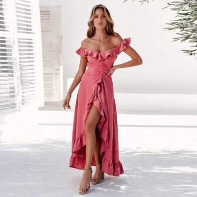Fashion Sexy Pure Off shoulder Falbala Maxi Dresses