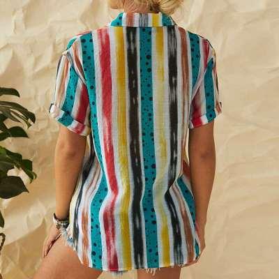 Fashion Print V neck Short sleeve Blouses