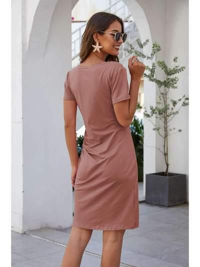Pure Round neck Short sleeve Skater Dresses