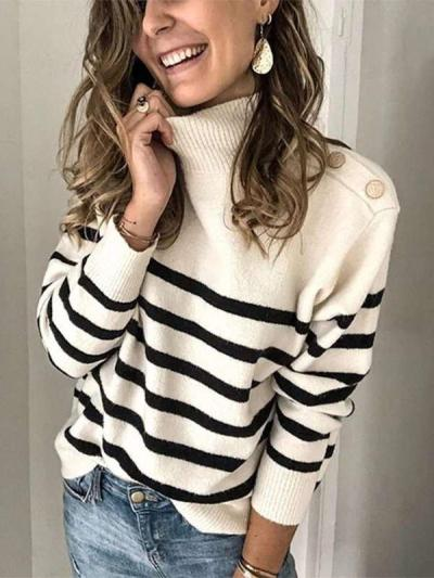 Fashion Stripe High collar Long sleeve Knit Sweaters
