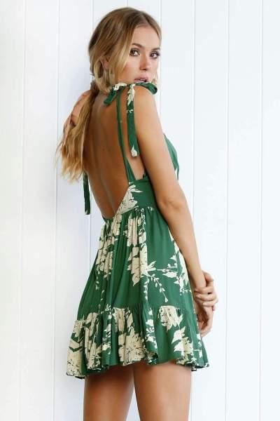 Fashion Casual Print V neck Vest Backless Skater Dresses