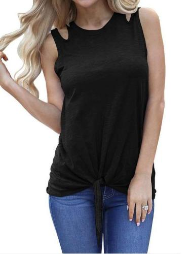 Loose Round neck Sleeveless Vests