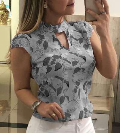 Fashion Print Stand collar Short sleeve T-Shirts