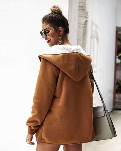 Fashion Hairy Hoodies Long sleeve Coats