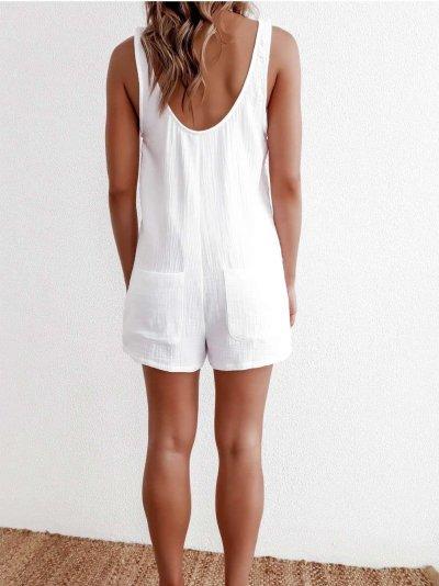 Fashion Pure Round neck Sleeveless Vest Jumpsuits