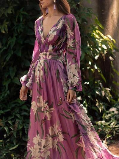 Women floral printed v neck chiffon vacation long dresses