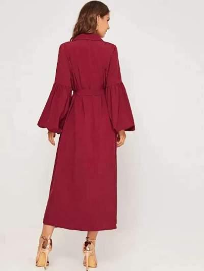 Fashion Pure Puff sleeve V neck Skater Maxi Dresses
