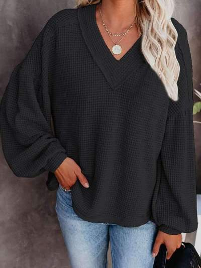 Women's loose V-neck lantern sleeve sweaters
