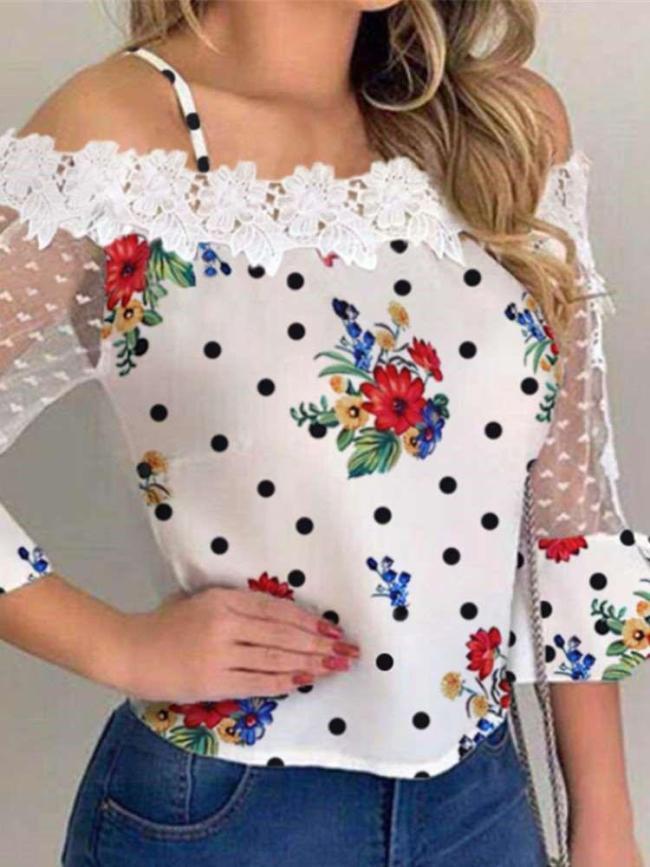 Fashion Lace Print One shoulder Half sleeve T-Shirts