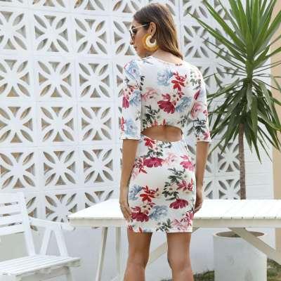 Sexy Print V neck Half sleeve Bodycon Dresses