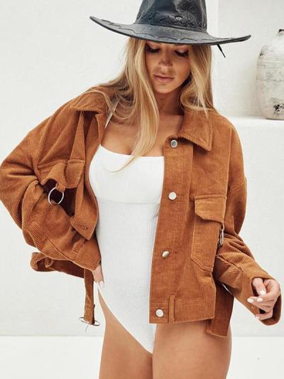 Long sleeve corduroy turn down collar women jackets