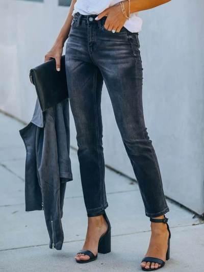 Stylish women gray black long pants jeans