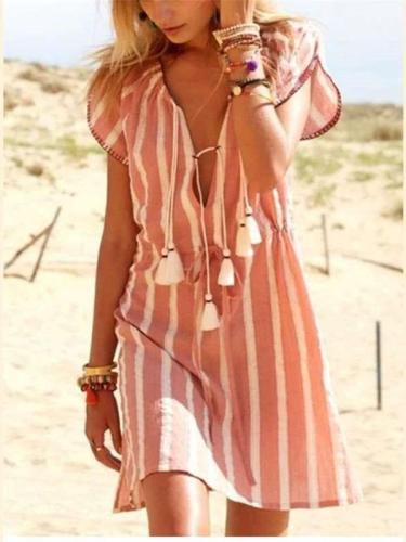 Fashion Casual Stripe V neck Short sleeve Lacing Shift Dresses