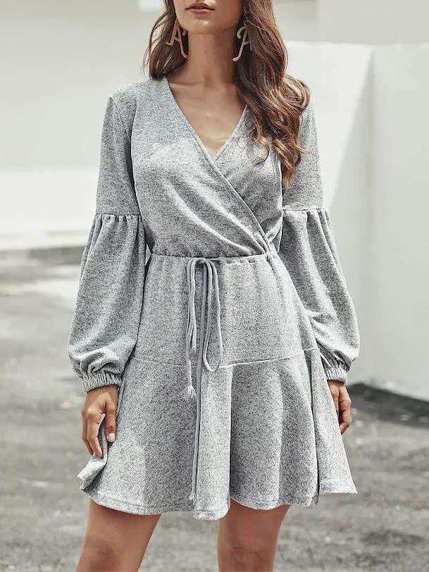 Fashion Pure V neck Long sleeve Lacing Skater Dresses
