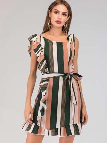 Fashion Stripe Falbala Lacing Skater Dresses