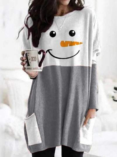 Christmas Snowman printed long-sleeved T-shirts