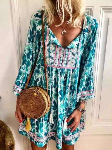 Fashion Casual Print V neck Long sleeve Shift Dresses