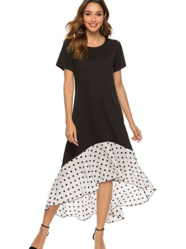 Casual Gored Point Short sleeve Maxi Dresses