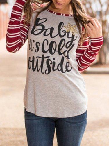 Christmas Deer Printed Stripe Long Sleeve T-shirts