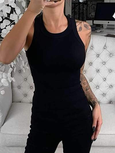 Sexy Round neck Sleeveless plain printed women vests
