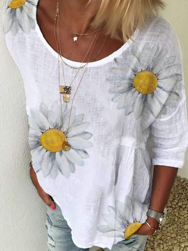 Casual Print Round neck Short sleeve T-Shirts