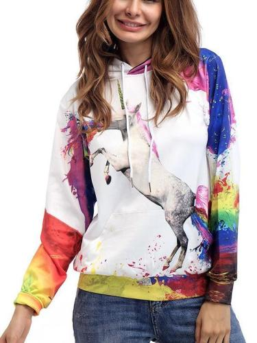 Women Floral  Unicorn Long sleeve Hoodies & Sweatshirts