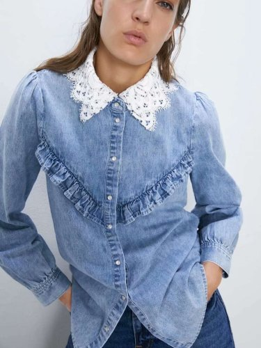 Fashion Lace Gored Jean Blouses