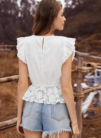 Fashion Casual Lace Round neck Falbala Blouses