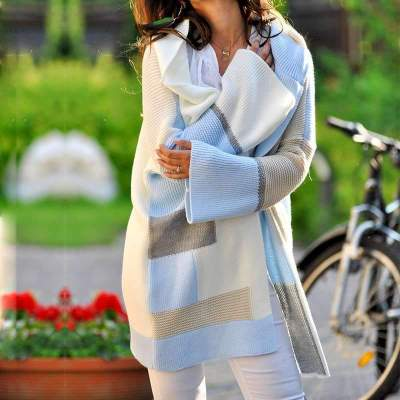 Fashion Knit Gored Loose Hoodies Cardigan