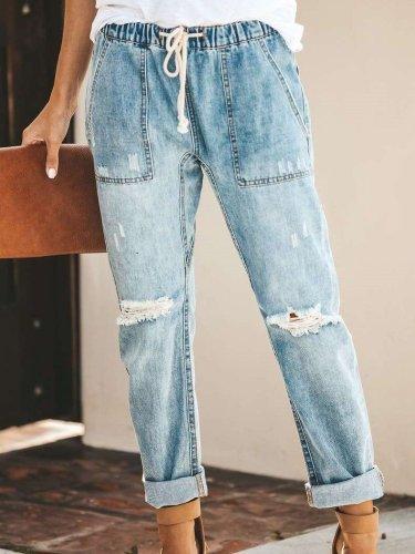 Fashion Casual Lacing Jean Pants