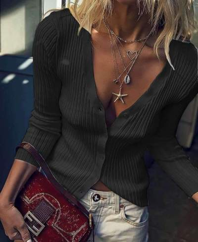 Fashion V neck Knit Tee Long sleeve Cardigan