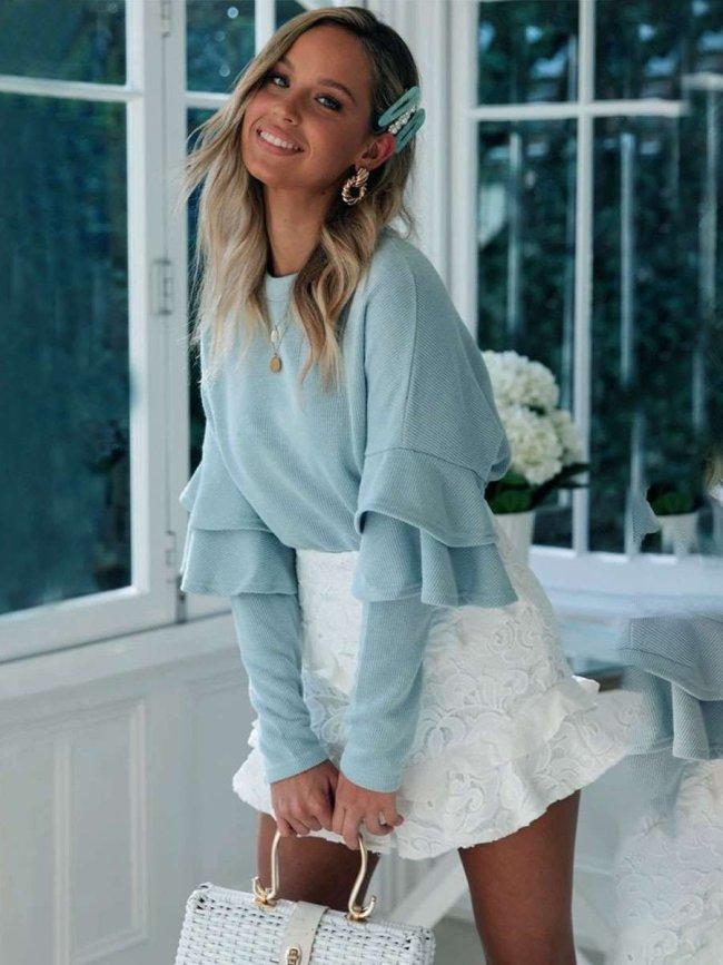 Fashion Falbala Knit Round neck Long sleeve Sweaters