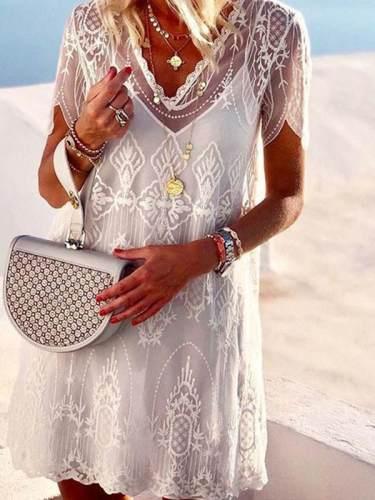 Elegant V Neck Embossed Short Sleeve Pure Colour Shift Dress