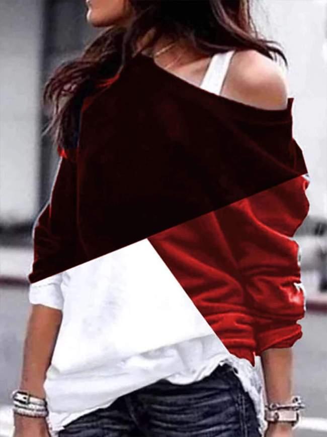 Fashion Off shoulder Gored Long sleeve Sweatshirts