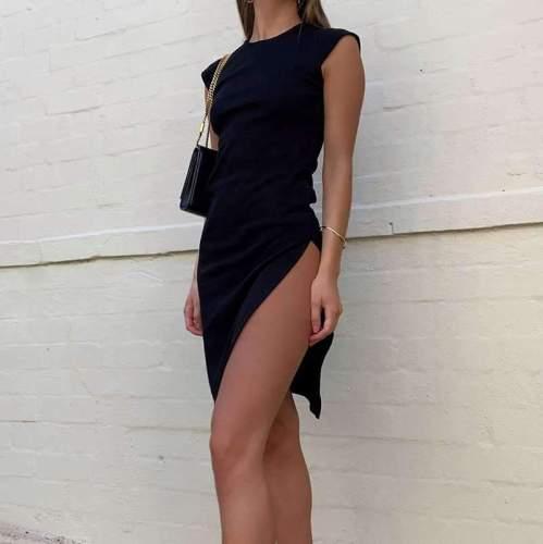 Sexy Pure Round neck Sleeveless Vent Bodycon Dresses