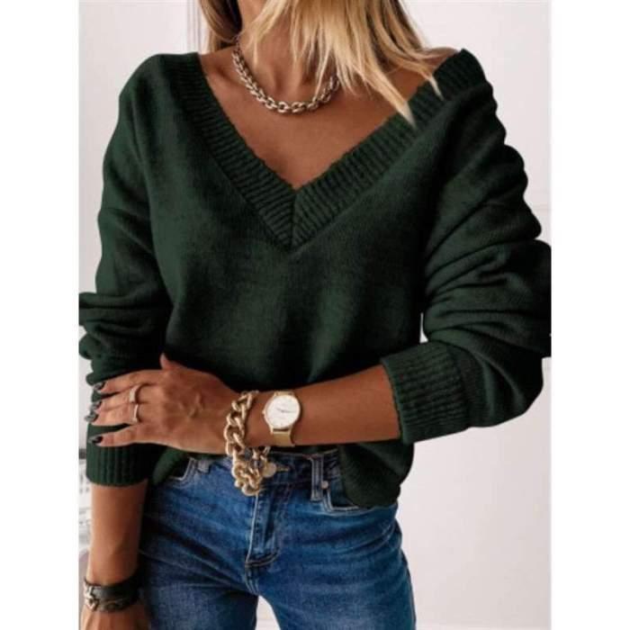 Fashion Pure V neck Long sleeve Knit Sweaters