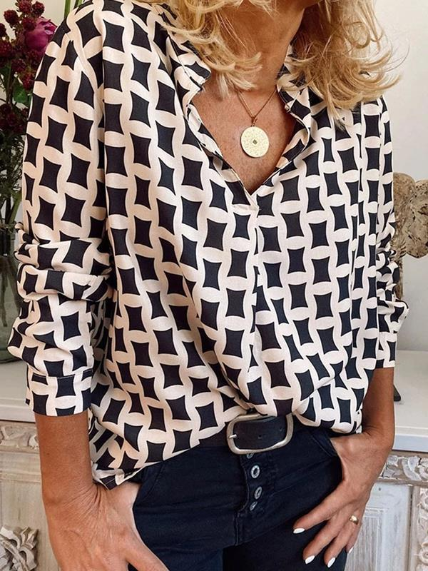 Fashion printed women v neck long sleeve shirts blouses