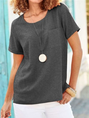 Fashion Casual Pure Round neck Short sleeve Pocket T-Shirts