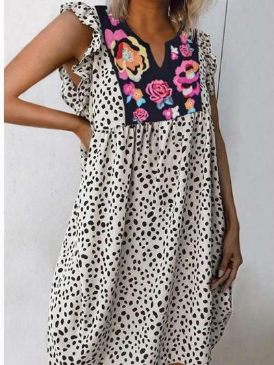 Fashion Casual Print V neck Falbala Shift Dresses