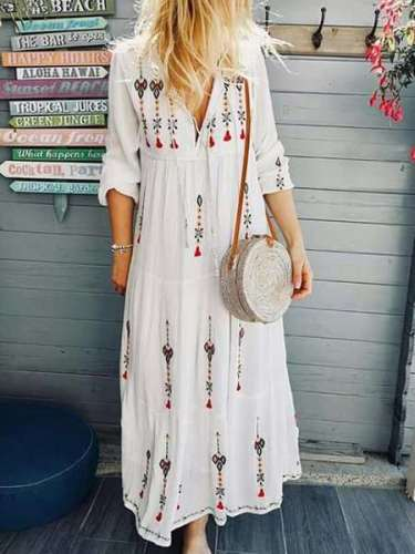 Casual V neck Print Long sleeve Maxi Dresses