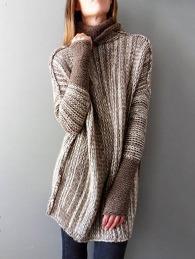 Turtle Neck Casual Knitted Sweater