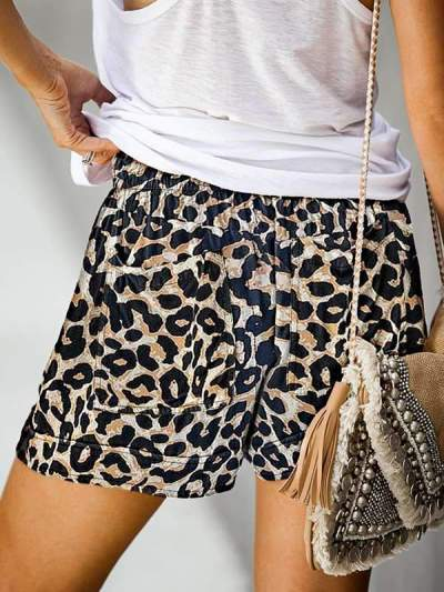 Camouflage leopard printed high waist shorts casual pants for women