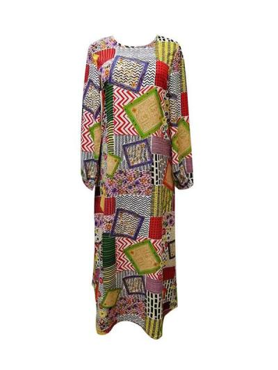 Bohemia Floral printed long sleeve round neck maxi dresses