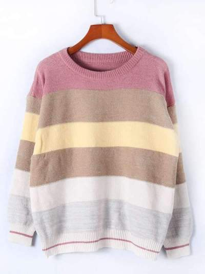 Casual loose round neck multi-color patchwork knit sweaters