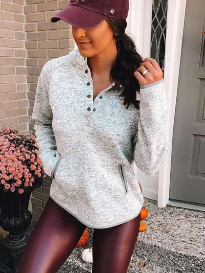 Fashion Stand collar Fastener Long sleeve Pocket Sweatshirts